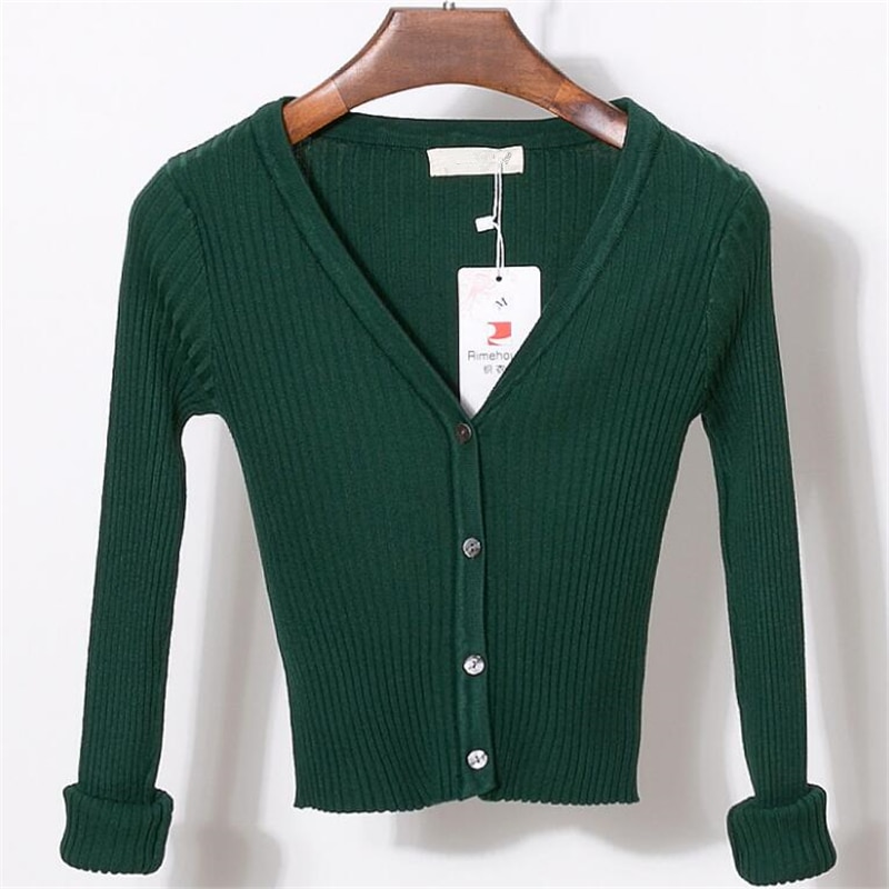 Chsdcsi feminino fino decote em v camisola de malha cardigan manga longa camisola cortada doce sólida shrubs womens curto cardigans doces