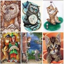 Full Square Drill Cartoon Cat 5D Diamond Painting Mosaic Embroidery Home Decor Diamond Kit 3D Animal Wall Painting Sale