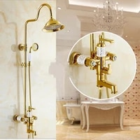 luxury gold ceramic crystal retro brass bathroom shower faucet set wall mounted double handle rainfall shower mixer faucets