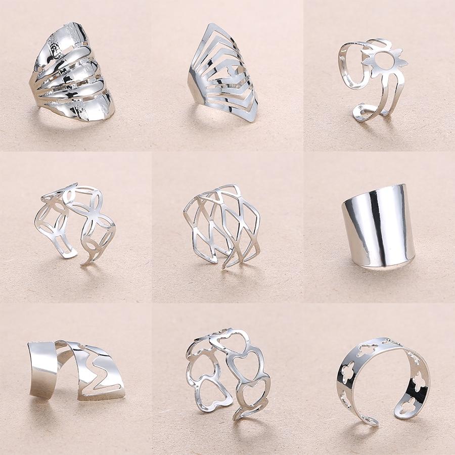 Регулируемые ажурные кольца Rinhoo, в полоску, с цветами, в форме сердца, геометрические, из нержавеющей стали, для женщин, для вечеринок, ювелирных изделий