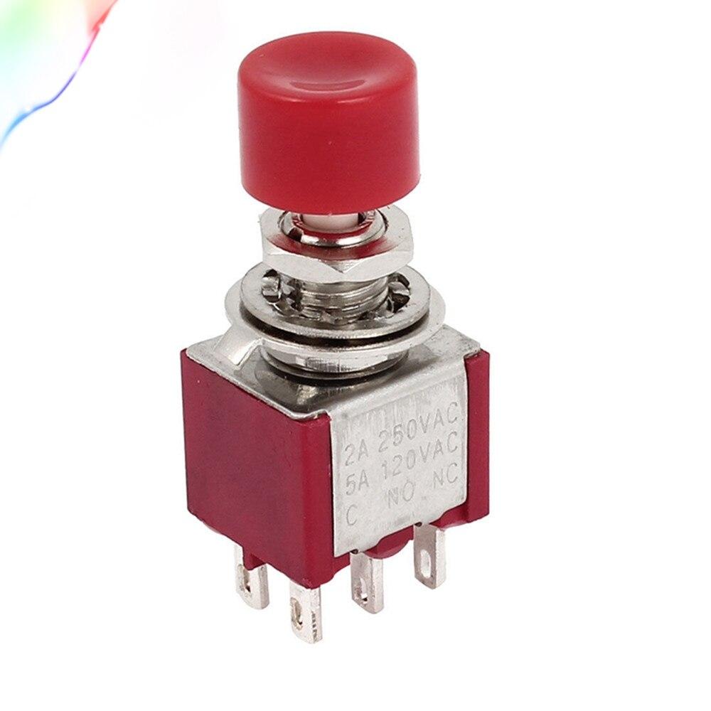 Rojo 6 pines DPST 1NO 1NC momentáneo botón interruptor CA 120 V 5A 250 V 2A