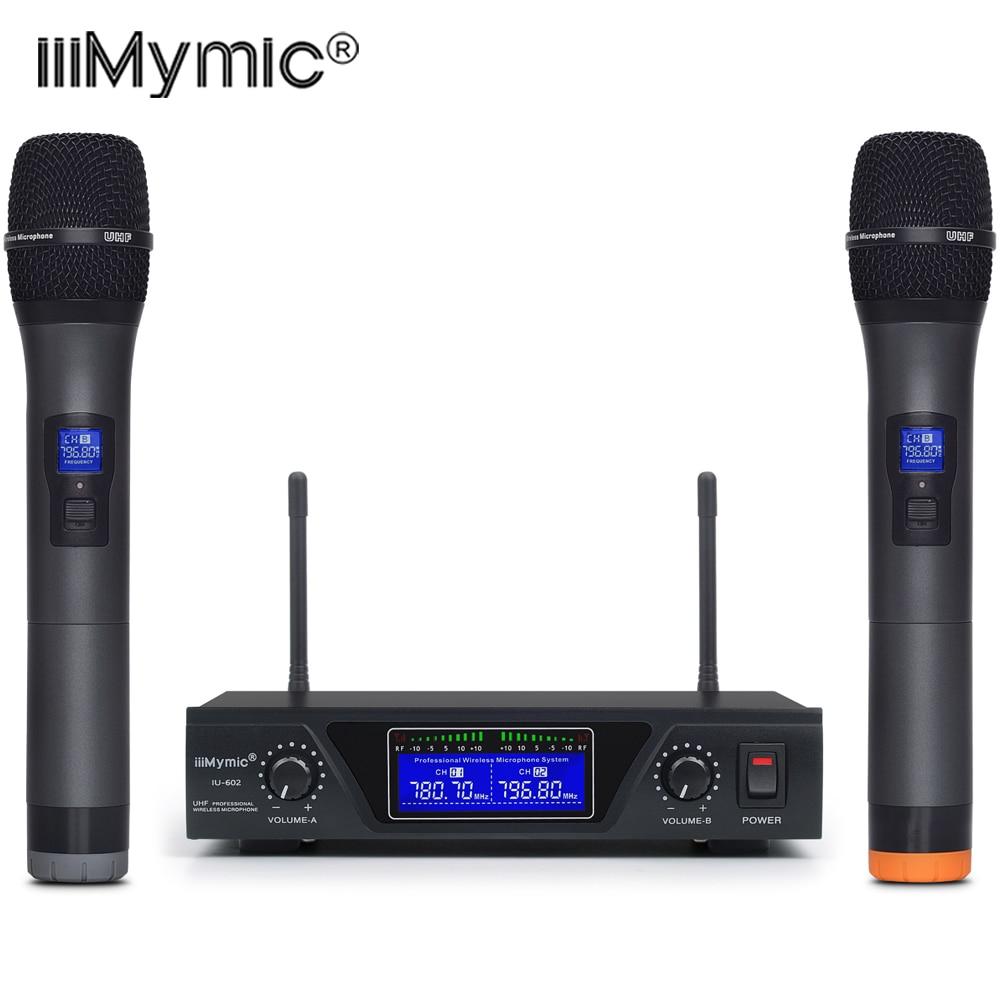 IU-602 UHF double canal 2 métal émetteur de micro portable professionnel longue portée système de Microphone sans fil pour la parole de karaoké