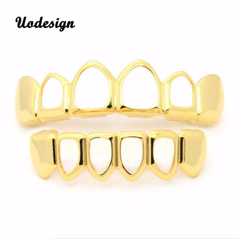 Dentes Grillz Electro chapeamento de Ouro Elegante Oca-out Conjunto Tomada Dentes Grillz Dentes Dentes Falsos para Hop