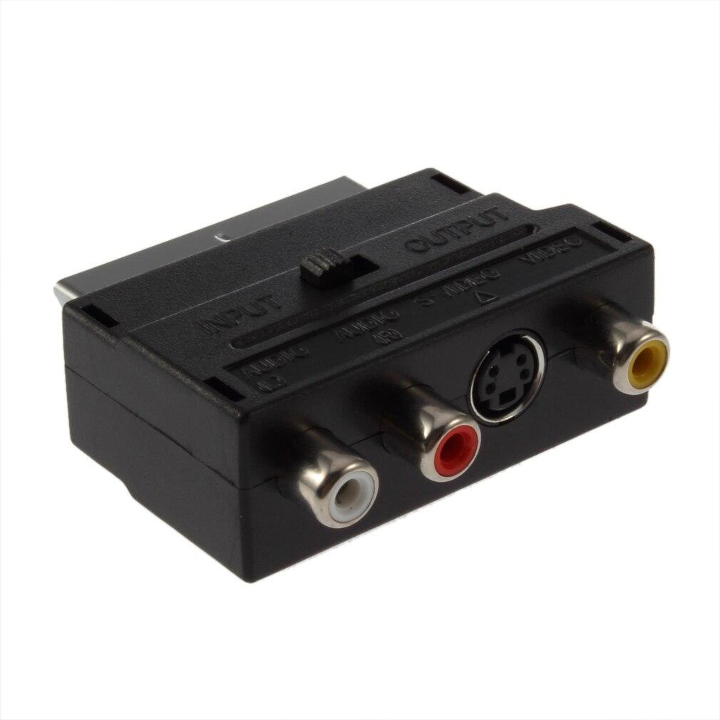 Venta caliente RGB Scart RCA compuesto S-Video AV TV Adaptador de Audio