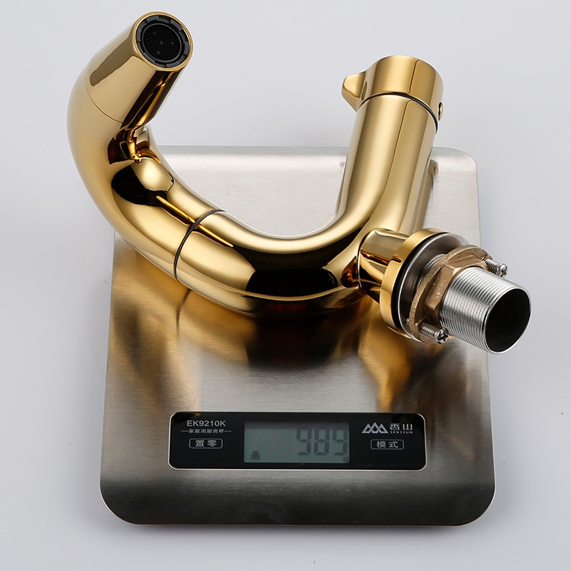 Купить с кэшбэком Smesiteli Golden Brass Basin Faucets 360 Degree Rotate Single Lever Water Tap Bathroom Tap Round Spout Hot and Cold Sink Faucets