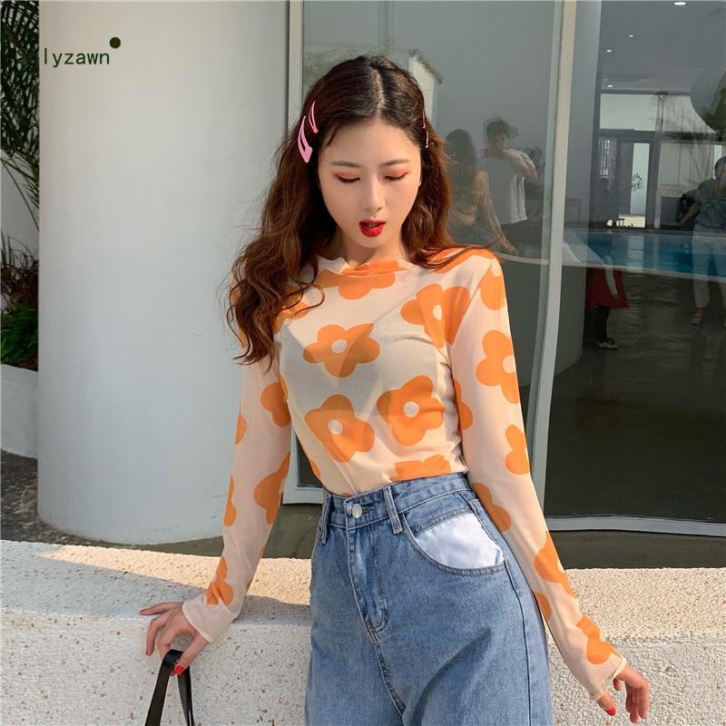 Camiseta de malla transparente con estampado de flores coloridas de estilo coreano para mujer, Harajuku para chicas, camiseta Vintage de red transparente dulce Kawaii para mujer