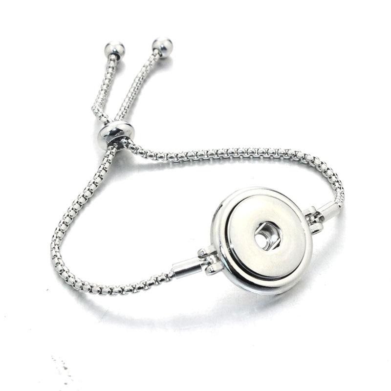 Newest Adjustable Snap Button Bracelet Metal European & American Charms Bracelet For Women 18mm Snap Button Jewelry 040616