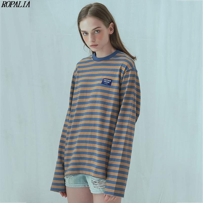 Camiseta suelta de manga larga a rayas con cuello redondo informal para mujer camisetas de algodón Retro de bloque de Color de estilo coreano