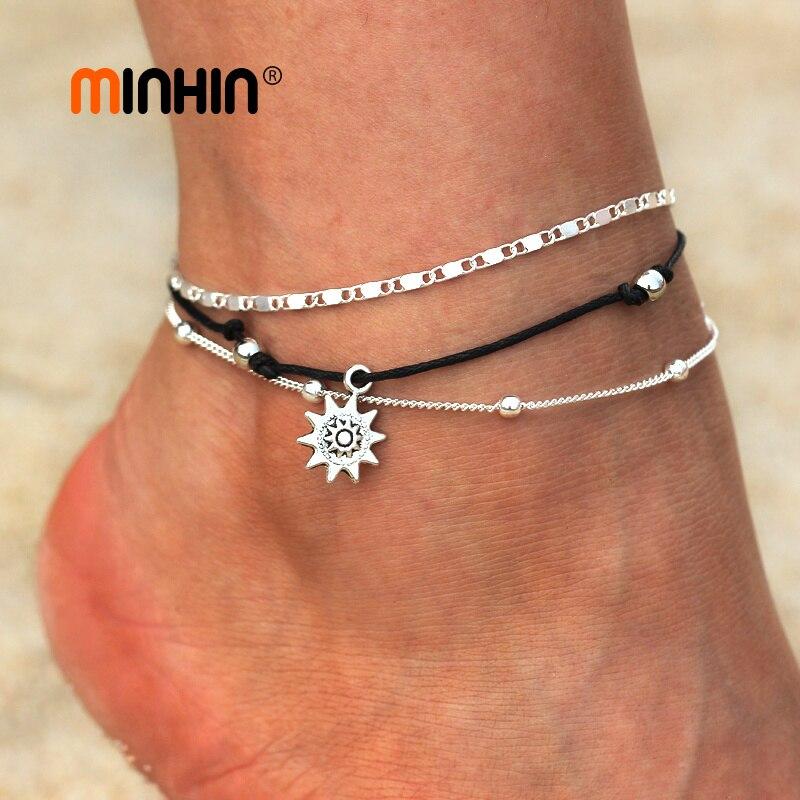 Женские многослойные ножные браслеты MINHIN, серебристые ножные браслеты ручной работы в стиле бохо, 2 шт.