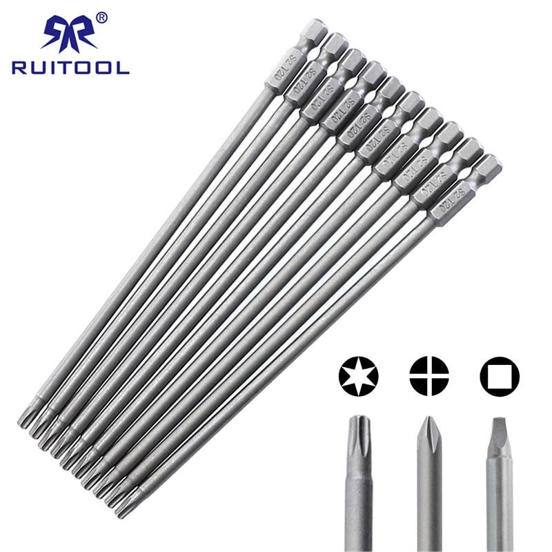 """150mm Screwdriver Bit Set S2 Steel Phillips Square Torx Magnetic Screwdriver Bits For Pocket Hole Jig 1/4"""" Hex Shank"""