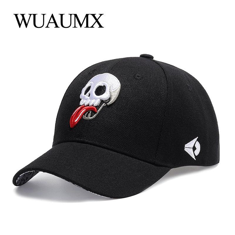 Wuaumx бейсболка мужская кепка женская Snapback вышивка Череп кепки мужские бейсболки женские хип хоп шапки кепка унисекс