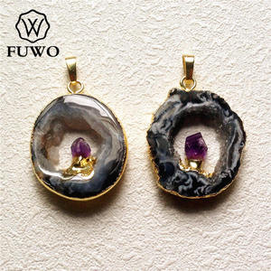 FUWO Geode Slice With Amethysts Point Pendant 24k Gold Electroplate Edge Polished Black Gray Drusy Crystal Charm Jewelry PD130
