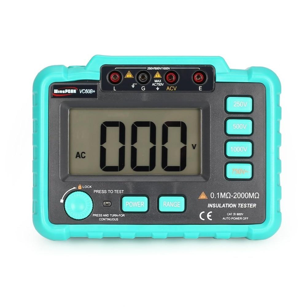 VC60B + 1000 V Digital de rango automático de aislamiento de resistencia probador Megohmmeter Megger Alta Tensión LED indicación 1999 cuentas