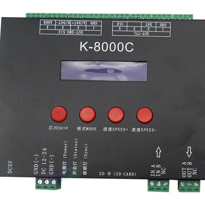 K-8000C programmable DMX/SPI SD card LED pixel controller;off-line;DC5-24V for RGB full color led pixel light strip enlarge
