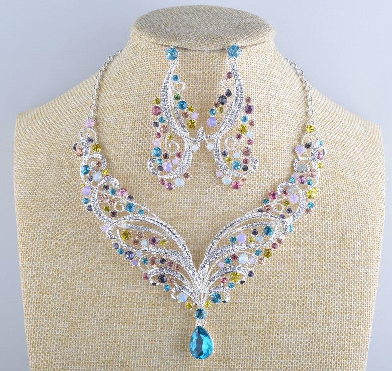 Estilo indio collar de novia con cristales pendientes conjuntos primavera multicolor joyería para fiesta de noche conjunto para mujeres collar de declaración