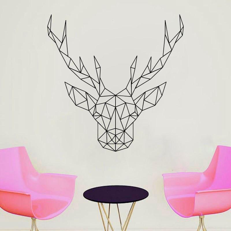 Adhesivo de pared de cabeza de ciervo poligonal, adhesivo de vinilo de Anime Animales abstractos, Scandi, decoración artística monocromática minimalista JH06