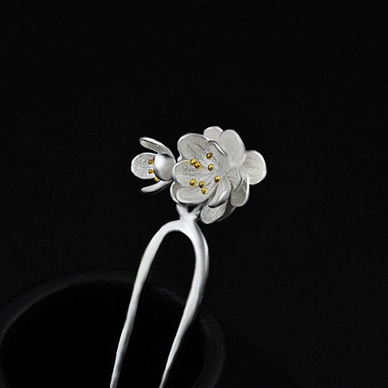Horquilla de Plata de Ley 925, flores falsas, joyería china hecha a mano, horquillas étnicas para el cabello, caja de regalo, horquilla para mujer