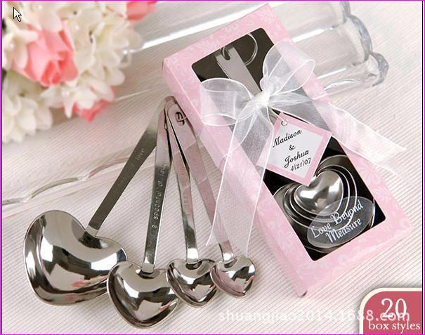 الحب لا قياس ملاعق قياس القلب في هدية Box_Pink الزفاف الحسنات + 100 مجموعات/وحدة + DHL شحن مجاني