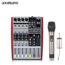 Profesyonel DJ mikseri W6000T4 (4 mono + 2 stereo) 16 DSP USB DJ mikseri