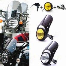 Pare-brise de phare Harley Bobber   Moto rétro universelle, Vintage café Racer phare, carpette support de pare-brise