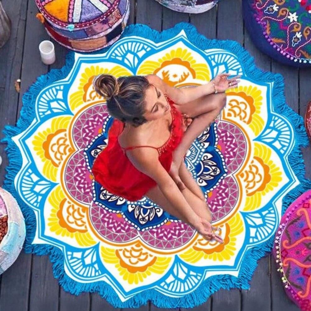 Bohemian Hippie Mandala Rodada Praia Tapeçaria Throw Cobertor Tapete de Yoga Toalha Indiano Lotus colorido cobertor toalha de praia protetor solar