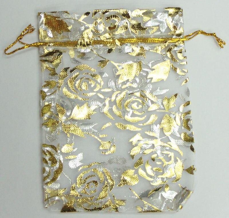 AY оптовая продажа 100 шт./лот 15x20 см розовое золото бронзирующие сумки из органзы
