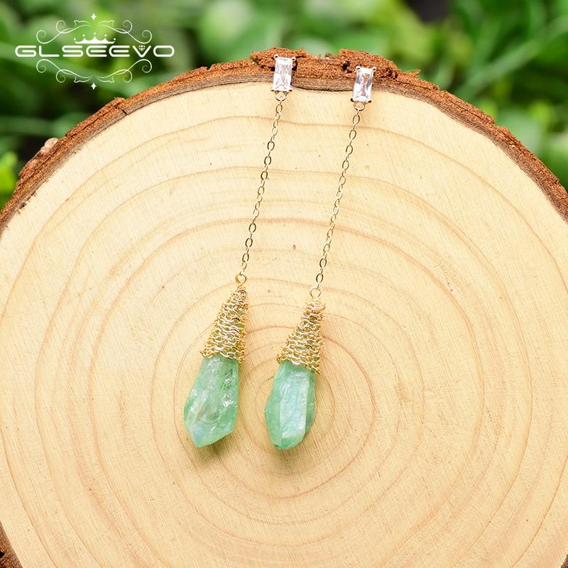 GLSEEVO Original Design Irregular Water Drop Green Crystal Rough Long Drop Earrings For Women Wedding Fine Jewellery GE0791C