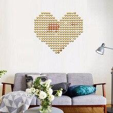 Stickers muraux en forme de cœur 2x2cm   Stickers muraux en mosaïque 3D, miroirs de cœur romantiques, miroir de fond de salon, 100pièces