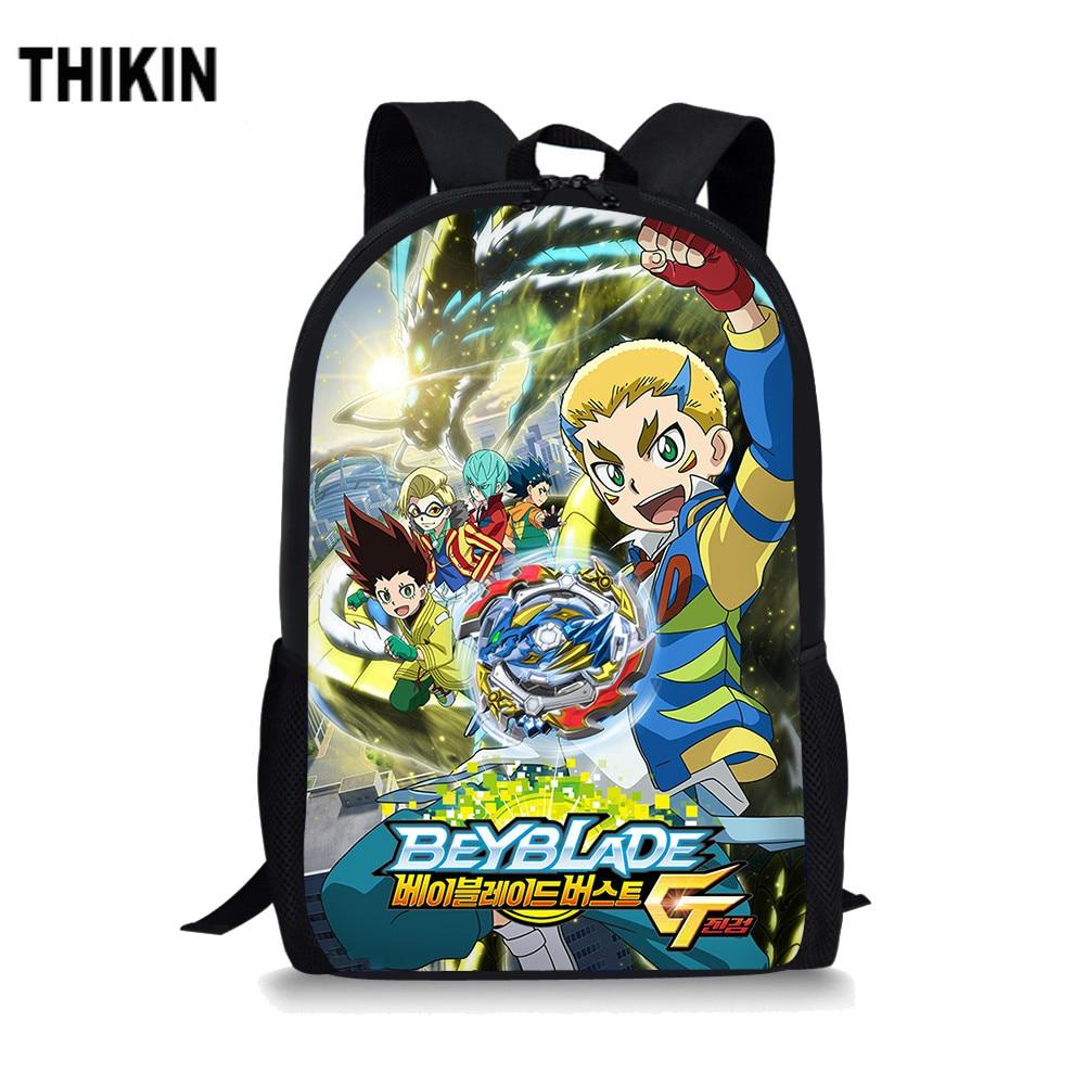 THIKIN Anime Beyblade Print School Bags for Teen Boys Backpack Classic Cartoon Pattern Book Bag Kids Cool Daily Mochila Custom