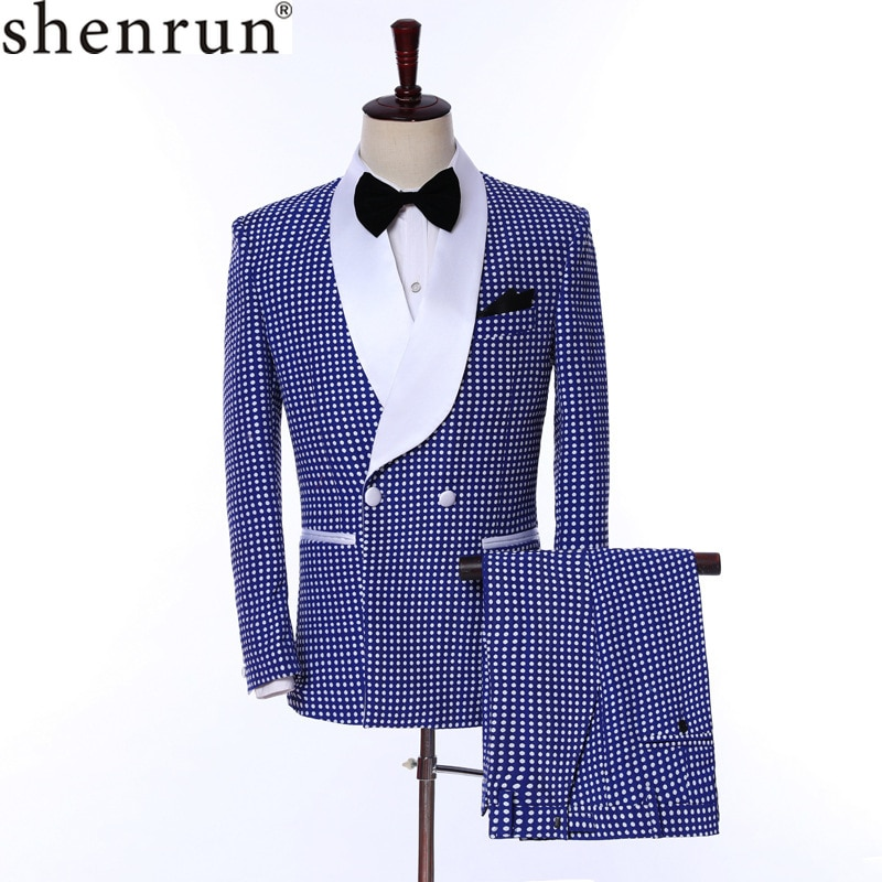 Shenrun Men Suits Slim Fit Fashion Tuxedos Wedding Bridegroom Suit Jacket with Pants Party Prom  Stage Costumes Doulbe Breasted