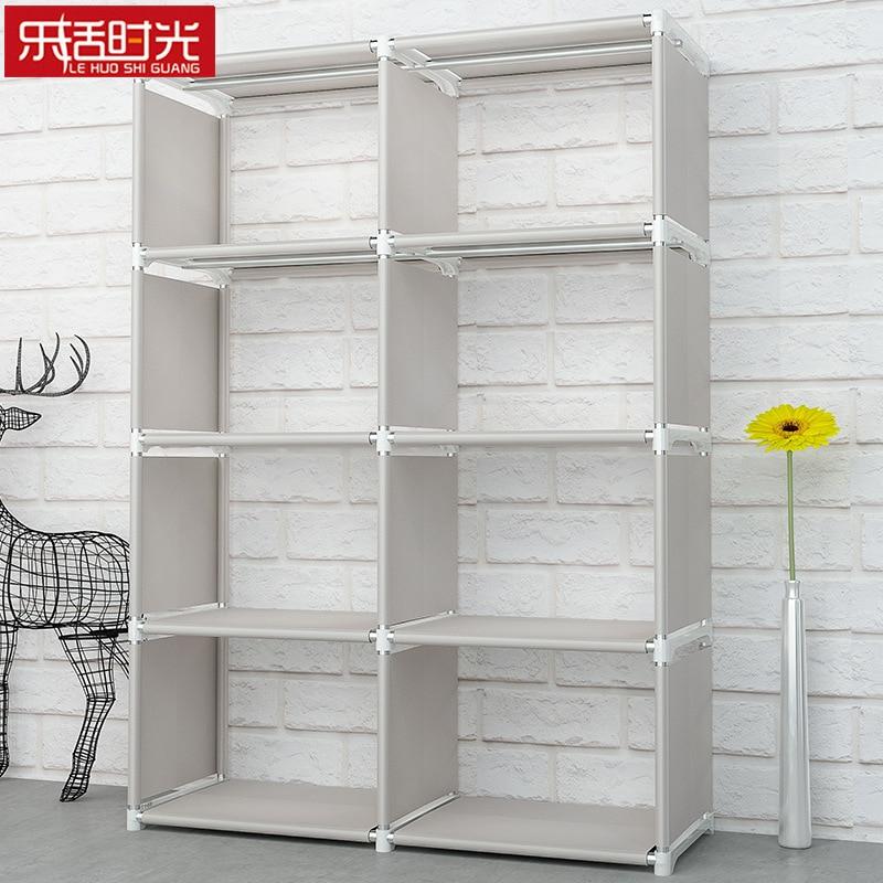 Minimalist Modern Floored Book Shelf Simple Assembled Nonwoven Fabric Student Shelves for Home Fashion DIY Creative Bookshelf