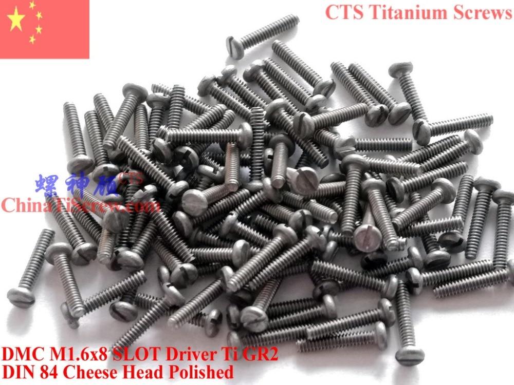 Titanium screw M1.6X8 DIN 84 Cheese Head slotted driver 50 pcs Ti GR2