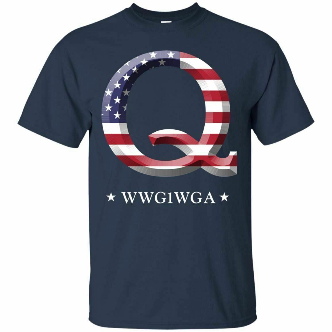 QAnon WWG1WGA Q Anon Camisa dos homens Grande Despertar MAGA EUA Tee Marinha