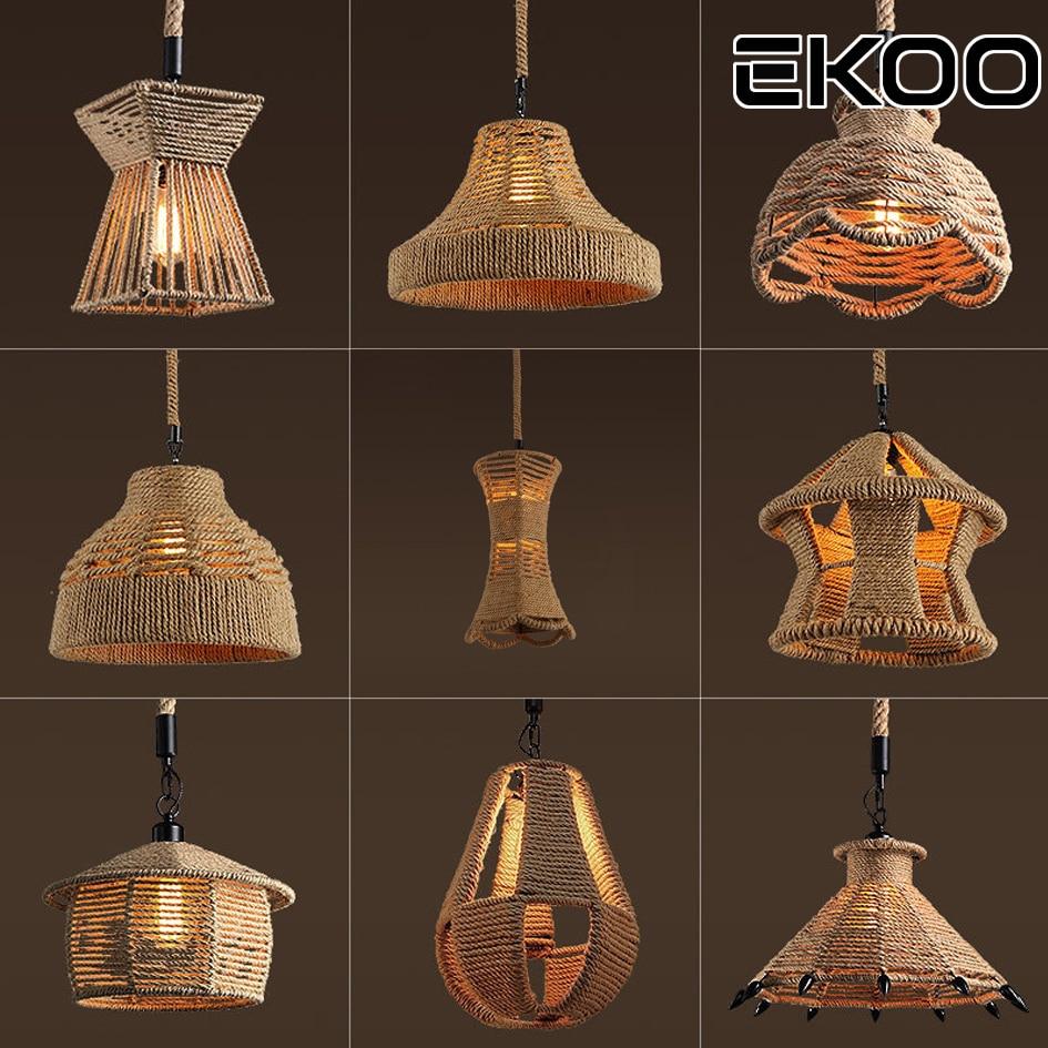 EKOO Rustic Vintage pendant Light E27 Retro Industrial Hemp Rope Metal hanging light for bar cafe Restaurant home lights