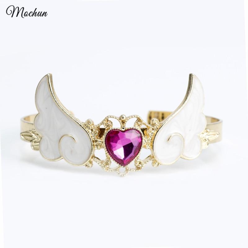 MQCHUN Cardcaptor браслет Sakura Star Wand, браслет на запястье с крыльями и сердечком для женщин и девочек, Sailor Moon