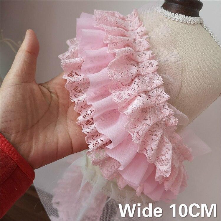 Robe de mariée avec dentelle plissée en mousseline de soie   10CM de large, trois couches, rose 3D volants, garniture brodée, ruban, fournitures de couture, bricolage
