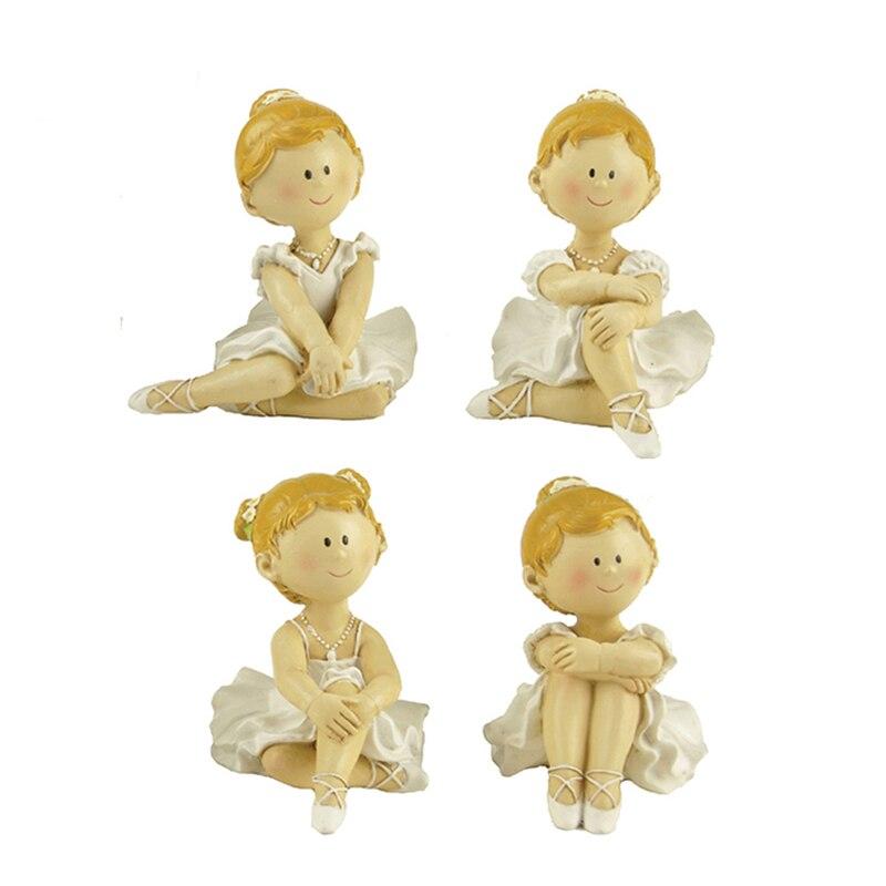 Resina bailarina de ballet escultura figuritas en miniatura figuras de Hada de ángeles adornos de escritorio figura de bailarina manualidades