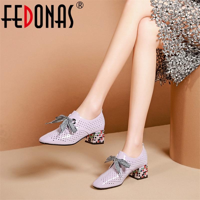 FEDONAS Classic Hollow zapatos de mujer de cuero genuino 2020 novedad de verano cordones tacones altos zapatos de punta redonda mujer Casual zapatos básicos