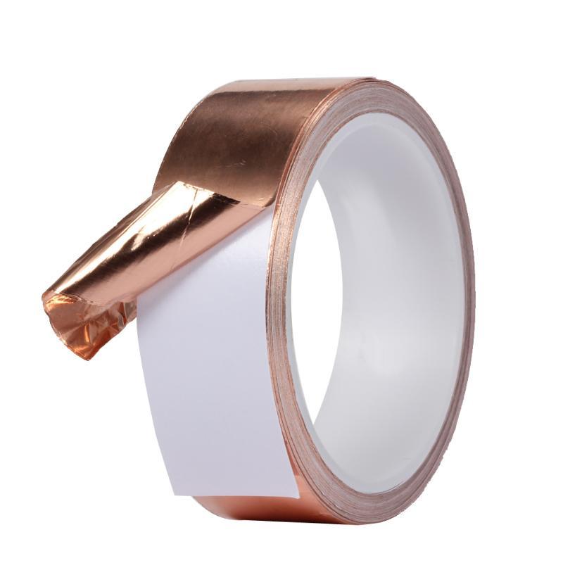 50mm X 5,5 m conductor doble cinta adhesiva para conducto blindaje de cobre cinta de aluminio ideal para repelente de balas EMI blindaje vitral