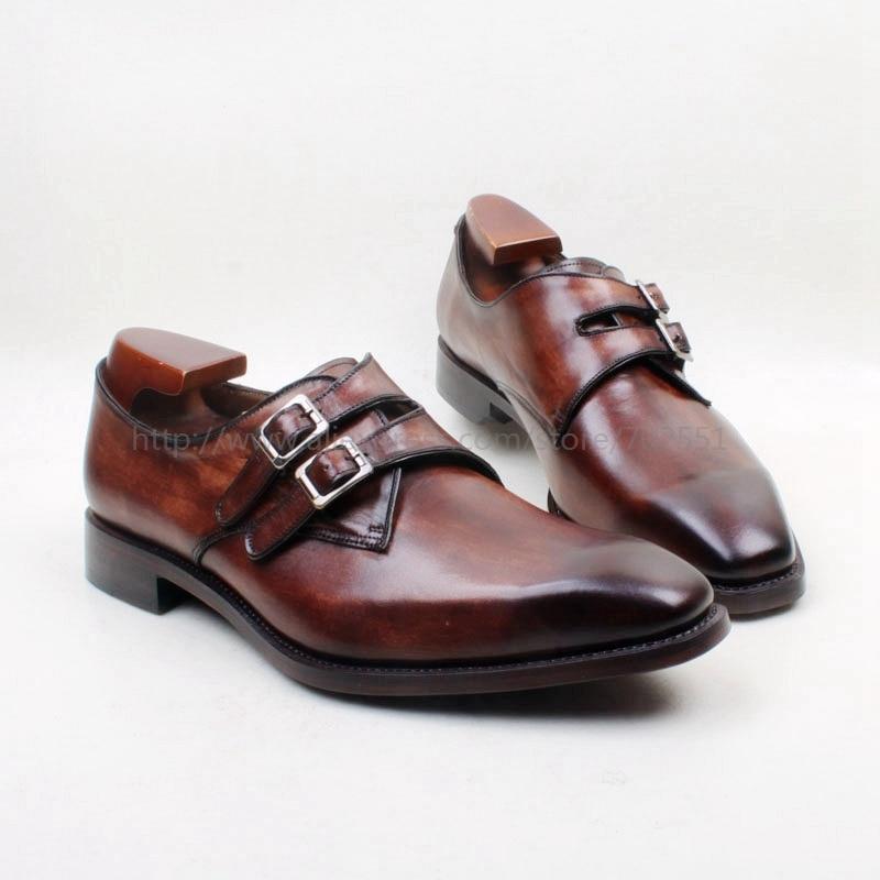 Cie ساحة تو مرسومة باليد الزنجار البني مزدوجة الراهب strapls مشبك 100% العجل جلد طبيعي الرجال حذاء تنفس تسولي MS142