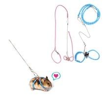 Pet Hamster Gerbil Pet Cage Leash Adjustable Pet Rat Mouse Harness Rope Ferret Finder Leash with Bell Drop Shipping