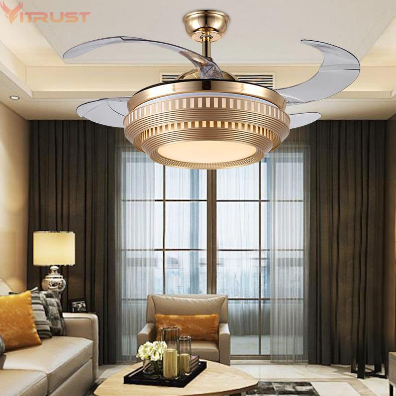 Moderno Ventilador de techo, luces LED, lámparas con Control remoto, Ventilador, techo con luz, plafond sans lumiere, iluminación, comedor, dormitorio