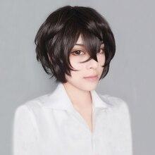 Peluca de pelo corto y rizado para Cosplay, pelo de alta calidad Bungo Stray Dogs Dazai Osamu, marrón, resistente al calor, Anime, con gorro
