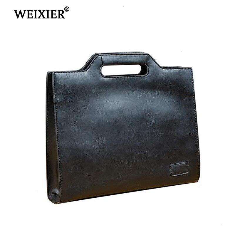 WEIXIER 2019 High Quality Classic Fashion Design PU Men's Simple Handbag Solid Color Retro Buckle Opening Men's Casual Handbag