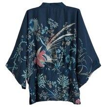 Kimono décontracté Cardigan Harajuku Protection solaire Blouse fleur oiseaux imprimer chemise trois quarts manches hauts amples