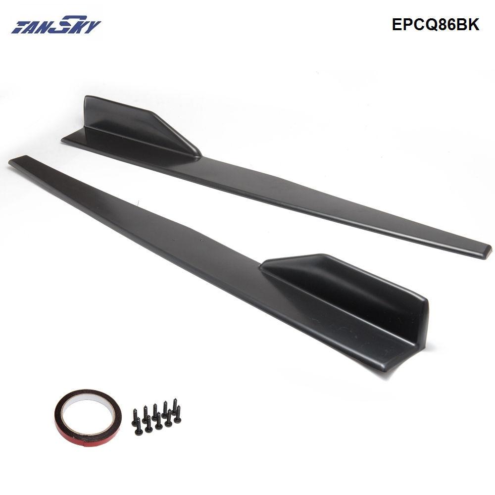 2 unids/set negro lado del coche Anti-rayado falda Spoiler divisores de cohete Kits EPCQ86BK