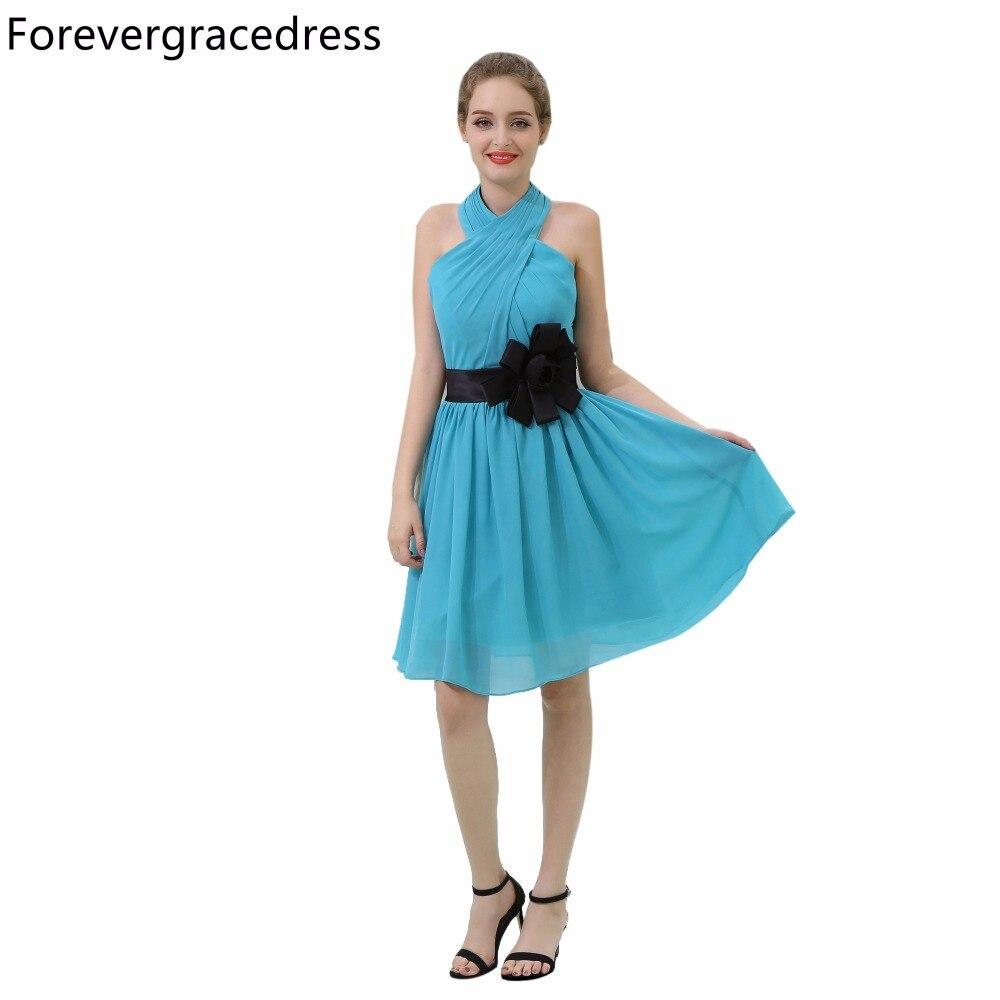 Forevergracedress vestido de dama de honor de playa de campo barato azul gasa corta Bohemia boda vestido de fiesta de talla grande hecho a medida