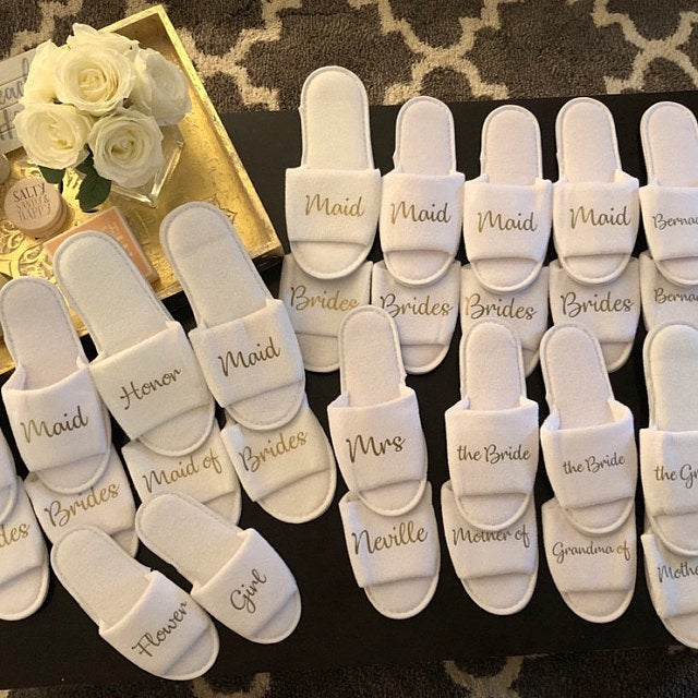 Personalised any name Flower Girl Slippers Bridesmaid Gift, Bridal Party , Hen Weekend Wedding Open Toes Spa Slippers