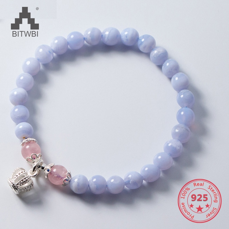 S925 Sterling Silver Simple Beuatiful Purple Natural Zircon Stone Bracelets Women Jewelry