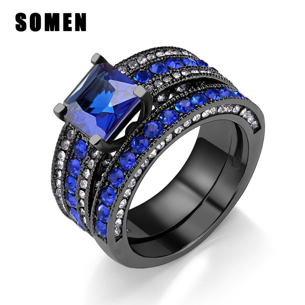 Conjunto de anillo negro para mujer, anillo de acero inoxidable de Zirconia...